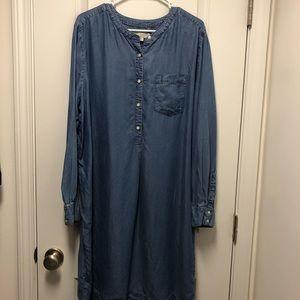 LOFT Long Sleeve Jean Dress